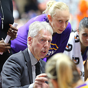 UNCASVILLE, CONNECTICUT- MAY 26:  Head Coach Brian Agler of the Los Angeles Sparks talks to his players doing a time out during the Los Angeles Sparks Vs Connecticut Sun, WNBA regular season game at Mohegan Sun Arena on May 26, 2016 in Uncasville, Connecticut. (Photo by Tim Clayton/Corbis via Getty Images)