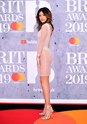 Montana Brown attending the Brit Awards 2019 at the O2 Arena, London.
