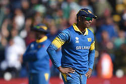 Sri Lanka's Angelo Mathews stands dejected during the ICC Champions Trophy, Group B match at Cardiff Wales Stadium. PRESS ASSOCIATION Photo. Picture date: Monday June 12, 2017. See PA story CRICKET Sri Lanka. Photo credit should read: Joe Giddens/PA Wire. RESTRICTIONS: Editorial use only. No commercial use without prior written consent of the ECB. Still image use only. No moving images to emulate broadcast. No removing or obscuring of sponsor logos.