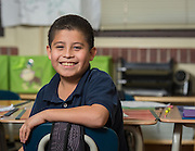 Matthew Garcia poses for a photograph at JP Henderson Elementary School, February 12, 2015.
