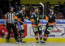 26.10.2015, Eisstadion Liebenau, Graz, AUT, EBEL, Moser Medical Graz 99ers vs HC TWK Innsbruck, 16. Runde, im Bild Evan Brophey (EC Graz 99ers), Matt Fornataro (EC Graz 99ers) und Sabahudin Kovacevic (EC Graz 99ers) // during the Erste Bank Icehockey League 16th Round match between Moser Medical Graz 99ers and HC TWK Innsbruck at the Ice Stadium Liebenau, Graz, Austria on 2015/10/26, EXPA Pictures © 2015, PhotoCredit: EXPA/ Erwin Scheriau