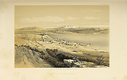 Tiberias and mount Hermon from The Holy Land : Syria, Idumea, Arabia, Egypt & Nubia by Roberts, David, (1796-1864) Engraved by Louis Haghe. Volume 1. Book Published in 1855 by D. Appleton & Co., 346 & 348 Broadway in New York.