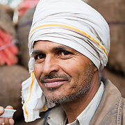 Indian man drinking chai