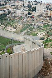 26 February 2020, Abu Dis, Palestine: The separation wall runs through Abu Dis, closing it off from nearby Al-Shikhsa'ad.