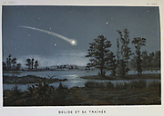 Bolide and its train.  A Bolide is a large meteor which usually explodes in a fireball. From French 1870 popular book on astronomy. Chromolithograph.