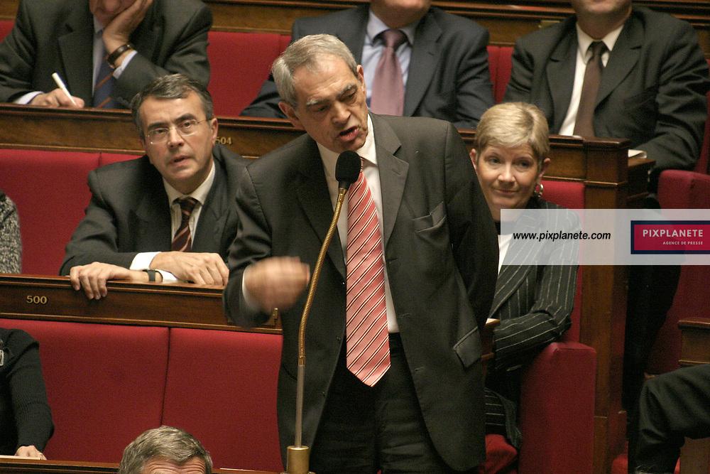 Questions au Gouvernement à l'Assemblée Nationale en pleine crise du CPE. Dominique de Villepin 22/03/2006 - JSB / PixPlanete