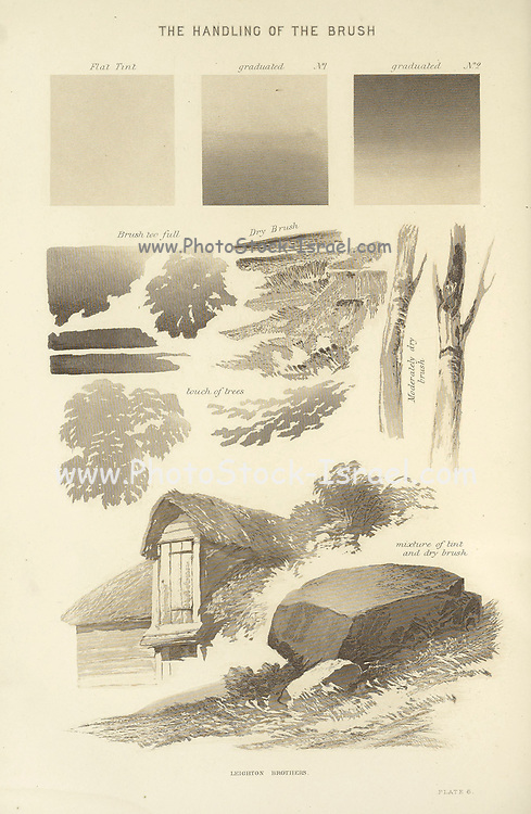 The Handling of a brush from the book The theory and practice of landscape painting in water-colours illustrated by a series of twenty-six drawings and diagrams in colours and numerous woodcuts by Barnard, George, 1807-1890 Published in 1885 by George Routledge and Sons London