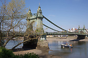 After being closed indefinitely to all traffic due to structural faults, an general view of Hammersmith Bridge and the Thames river, on 11th April 2019, in west London, England. Safety checks revealed critical faults and Hammersmith and Fulham Council has said its ben left with no choice but to shut the bridge until refurbishment costs could be met. The government has said that between 2015 and 2021 its is providing £11bn of support to the 132-year-old bridge.