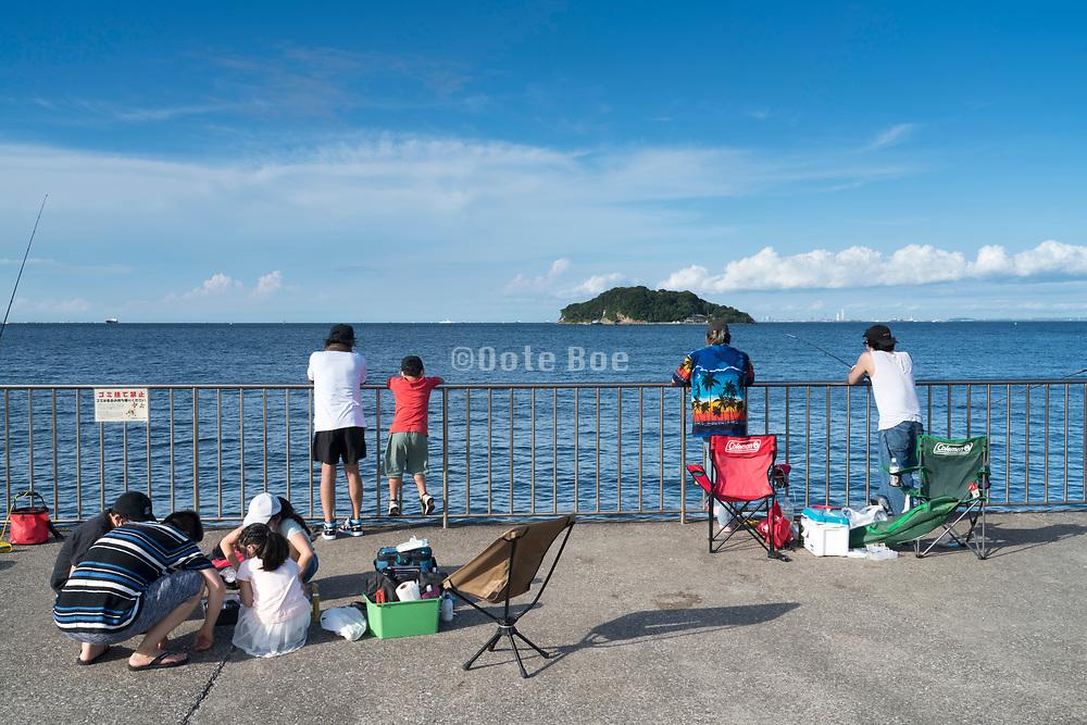 fishing at Umikaze park, Yokosuka with Tokyo Bay and Sarushima Island