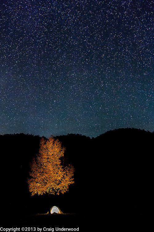 On my way to photograph the Milky Way I noticed this glowing tent and the adjacent autumn foliage.  This was one of my first award winning photographs winning the Mid America photo competition known as the Ozark Photo Challenge.
