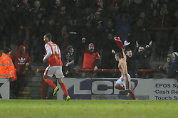 Morecambe's Jack Redshaw celebrates his goal. - Photo mandatory by-line: Dougie Allward/JMP - Tel: Mobile: 07966 386802 14/12/2013 - SPORT - Football - Morecombe - Globe Arena - Morecombe v Bristol Rovers - Sky Bet League Two