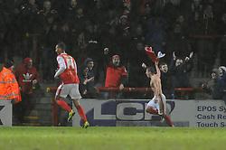 Morecambe's Jack Redshaw celebrates his goal. - Photo mandatory by-line: Dougie Allward/JMP - Tel: Mobile: 07966 386802 14/12/2013 - SPORT - Football - Morecombe - Globe Arena - Morecombe v Bristol Rovers - Sky Bet League Two