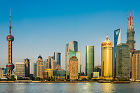 Shanghai, China - April 7, 2013: pudong waterfront and the hangpu river at the city of Shanghai in China on april 7th, 2013