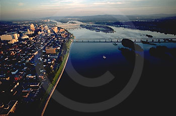 Harrisburg, PA, Susquehanna River and City Aerial Photograph