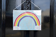 Local response to Coronavirus is felt on a street by street level as children put up rainbow paintings in the windows of their homes on 7th April 2020 in Birmingham, England, United Kingdom. Coronavirus or Covid-19 is a new respiratory illness that has not previously been seen in humans. While much or Europe has been placed into lockdown, the UK government has announced more stringent rules as part of their long term strategy, and in particular social distancing.