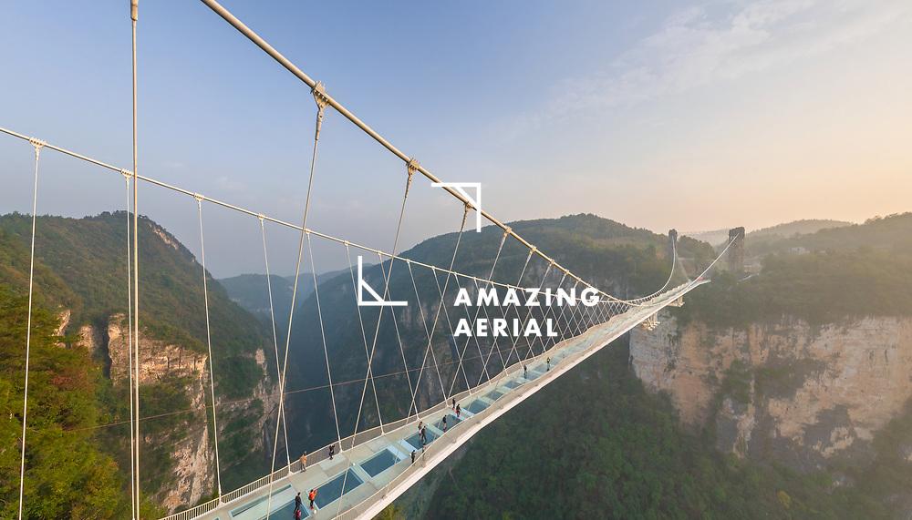 Aerial view of Zhangjiajie Glass Bridge, China