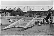"Y-590824B-35. ""trip in Harbor Patrol boat on Portland Waterfront"" August 24, 1959. Swan Island drydock area."