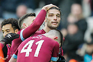 GOAL 2-0 West Ham United forward Andy Carroll (9) heads in West Ham United's second and celebrates during the The FA Cup 3rd round match between West Ham United and Birmingham City at the London Stadium, London, England on 5 January 2019.