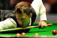 Judd Trump of England in action against Dominic Dale of Wales. Welsh Open snooker , Newport Centre in Newport, South Wales on Wed 13th Feb 2013. pic by Andrew Orchard, Andrew Orchard sports photography,