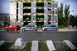 GERMANY HAMBURG 1SEP13 - Police cars in front of a building at the IBA architecture and building exhibition site in Wilhelmsburg, Hamburg.<br /> <br /> With HafenCity and the International Building Exhibition IBA, Hamburg is home to two of the most important urban development areas in Europe.<br /> <br /> <br /> <br /> jre/Photo by Jiri Rezac<br /> <br /> <br /> <br /> © Jiri Rezac 2013