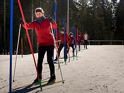 Participants learning cross country skiing course, Black-Forest, Baden-Wuerttemberg, Germany