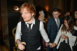 ED SHEERAN at the Warner Music Brit Party held at the Freemason's Hall, 60 Great Queen Street, London on 25th February 2015.