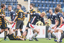 Falkirk's Mark Beck cele scoring their goal.<br /> Half time : Falkirk 1 v 1 Alloa Athletic, Scottish Championship game played today at The Falkirk Stadium.<br /> © Michael Schofield.