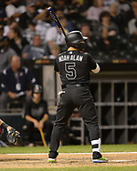 CHICAGO - AUGUST 23:  Yolmer Sanchez #5 of the Chicago White Sox bats against the Texas Rangers during Players Weekend on August 23, 2019 at Guaranteed Rate Field in Chicago, Illinois.  (Photo by Ron Vesely)  Subject:   Yolmer Sanchez