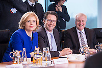 14 MAR 2018, BERLIN/GERMANY:<br /> Julia Kloeckner (L), MdB, CDU, Bundesministerin fuer Ernaehrung und Landwirtschaft, und Andreas Scheuer (M), MdB, CSU, Bundesminister fuer Verkehr und digitale Infrastruktur, und Horst Seehofer (R), CSU, Bundesminister des Innern, fuer Bau und Heimat, vor Beginn der ersten Sitzung des Kabinetts Merkel IV, Kabinettsaal, Bundeskanzleramt<br /> IMAGE: 20180314-02-022<br /> KEYWORDS: Julia Klöckner, Kabinett, Kabinettsitzung, Sitzung,, neues Kabinett