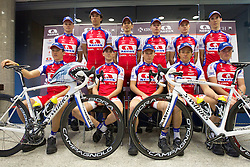 2nd line (from L): Matej Gnezda, Blaz Jarc, Mitja Mahoric, Tomaz Nose, Primoz Segina, Jure Zagar; 1st line:  Kristjan Fajt, Blaz Furdi, Pavel Gorenc, Marco Haller and Aljaz Hocevar at press conference of Pro Cycling Team Adria Mobil Novo mesto before new season, on March 8, 2011 at ACH, Ljubljana, Slovenia. (Photo By Vid Ponikvar / Sportida.com)