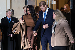 """London, UK. 7 January, 2020. The Duke and Duchess of Sussex leave Canada House in Trafalgar Square after visiting to thank the High Commissioner for the """"warm hospitality"""" and support received by them during a six-week sabbatical in Canada over Thanksgiving and Christmas."""