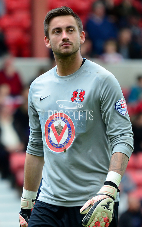 Leyton Orient goalkeeper Alex Cisak during the Sky Bet League 1 match between Swindon Town and Leyton Orient at the County Ground, Swindon, England on 3 May 2015. Photo by Alan Franklin.