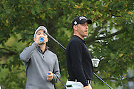 Marcel Schneider (GER) and Jose-Filipe Lima (POR) on the 5th tee during Round 2 of the Volopa Irish Challenge in Tullow, Co. Carlow on Friday 9th October 2015.<br /> Picture:  Thos Caffrey / www.golffile.ie