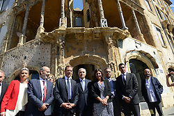"Beirut Mayor Jamal Itani (4th from L), French Ambassador to Lebanon Emmanuel Bonne (3rd from L), and Paris Mayor Anne Hidalgo (center) seen during a visit to the ""Beit Beirut"" foundation and museum, also known as ""La Maison jaune"" or ""The Yellow House"", in Beirut, Lebanon, on September 29, 2016. ""Beit Beirut"" is a project that is helped and funded by Paris City to keep a place for the memory of Beirut and of Lebanon's civil war (1975-1990) in this building once located on the ""green line"" that used to separate the city in two parts. Photo by Balkis Press/ABACAPRESS.COM"