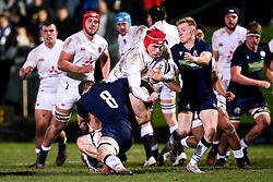 Theo Dan of England - Mandatory by-line: Robbie Stephenson/JMP - 07/02/2020 - RUGBY - Myreside - Edinburgh, Scotland - Scotland U20 v England U20 - Six Nations U20