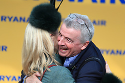 Owner Michael O'Leary celebrates with wife Anita Farrell after wining the Ryanair Steeple Chase during St Patrick's Thursday of the 2018 Cheltenham Festival at Cheltenham Racecourse.