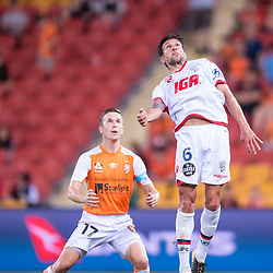 BRISBANE, AUSTRALIA - OCTOBER 13: Vince Lia of Adelaide heads the ball during the Round 2 Hyundai A-League match between Brisbane Roar and Adelaide United on October 13, 2017 in Brisbane, Australia. (Photo by Patrick Kearney)