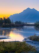Matanuska River and railroad bridge at sunrise, Palmer Hay Flats, Alaska, digital composite