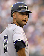 July 24 2007 - Kansas City, MO..New York Yankees shortstop Derek Jeter looks into the dugout during action against the Kansas City Royals at Kauffman Stadium in Kansas City, Missouri on July 24, 2007...MLB:  The Yankees defeated the Royals 9-4.  Photo by Peter G. Aiken / Cal Sport Media