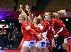 HERNING, DENMARK - DECEMBER 4: Lærke Nolsøe Pedersen (L) and Althea Reinhardt celebrate after the EHF Euro 2020 Group A match between Denmark and Slovenia in Jyske Bank Boxen, Herning, Denmark on December 4, 2020. Photo Credit: Allan Jensen/EVENTMEDIA.