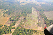Aerial view of the Brazilian Amazonian Rain Forest showing areas of deforestation