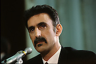 """Frank Zappa testifies at a senate hearing on """"Dirty Rock"""" in September 1985...Photograph by Dennis Brack  bb26"""