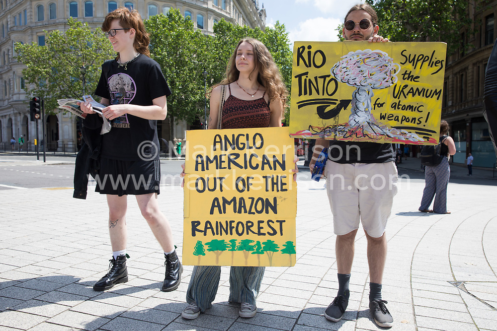 Environmental activists from Earth Strike UK protest in Trafalgar Square against Anglo-Australian multinational metals and mining corporation Rio Tinto on 5th June 2021 in London, United Kingdom. Rio Tinto produces aluminium, iron ore, copper, uranium, coal, titanium and diamonds and has for many years been linked by activists to adverse environmental and human rights impacts around the world.