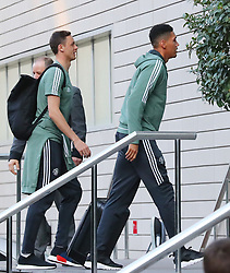 The Manchester United team arrive at The Lowry Hotel on Saturday evening to prepare for their home game against West Brom on Sunday afternoon. Seen: Nemanja Matic and Chris Smalling.