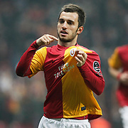 Galatasaray's Emre Colak celebrate his goal during their Turkish Super League soccer match Galatasaray between MKE Ankaragucu at the TT Arena at Seyrantepe in Istanbul Turkey on Wednesday, 25 January 2012. Photo by TURKPIX