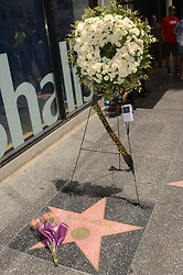 Flowers are placed on the Roger Moore Star on the Hollywood Walk of Fame. 23 May 2017 Pictured: Roger Moore Star. Photo credit: David Edwards / MEGA TheMegaAgency.com +1 888 505 6342