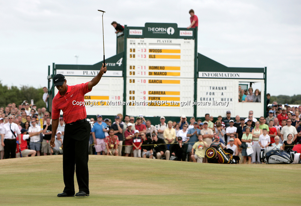 Tiger WOODS (USA) eagles the 6th par 5 during fourth round The Open Championship 2006,Royal Liverpool, Hoylake,Wirral,England.