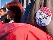 """07 DECEMBER 2010 - PHOENIX, AZ:  A student wears a button in support of the DREAM Act during a picket of US Sen. John McCain's office in Phoenix Tuesday. Dolores Huerta, who started working in the civil rights movement in the 1960's, threw her support behind students fasting on behalf of the DREAM Act in front of Sen. John McCain's office Tuesday. The student picked McCain's office because he used to support the DREAM Act. They hope that the US Senate will pass the DREAM Act during its """"lame duck"""" session. The Senate debated and defeated similar legislation just before the November general election.     PHOTO BY JACK KURTZ"""