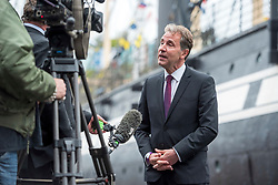 © Licensed to London News Pictures; 08/05/2021; Bristol, UK. Labour's DAN NORRIS (pictured being interviewed by the media) wins the election for the West of England Combined Authority Mayor, with the declaration taking place at the SS Great Britain. Photo credit: Simon Chapman/LNP.