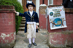 © Licensed to London News Pictures. 21/03/2019. London, UK. An Orthodox Jewish child in fancy dress to celebrate the festival of Purim on the streets of Stamford Hill in north London on 21 March 2019. Purim celebrates the miraculous salvation of the Jews from a genocidal plot in ancient Persia, documented in the Book of Esther. Traditionally the jewish community wear fancy dress and exchange gifts of food and drink. Photo credit: Rob Pinney/LNP